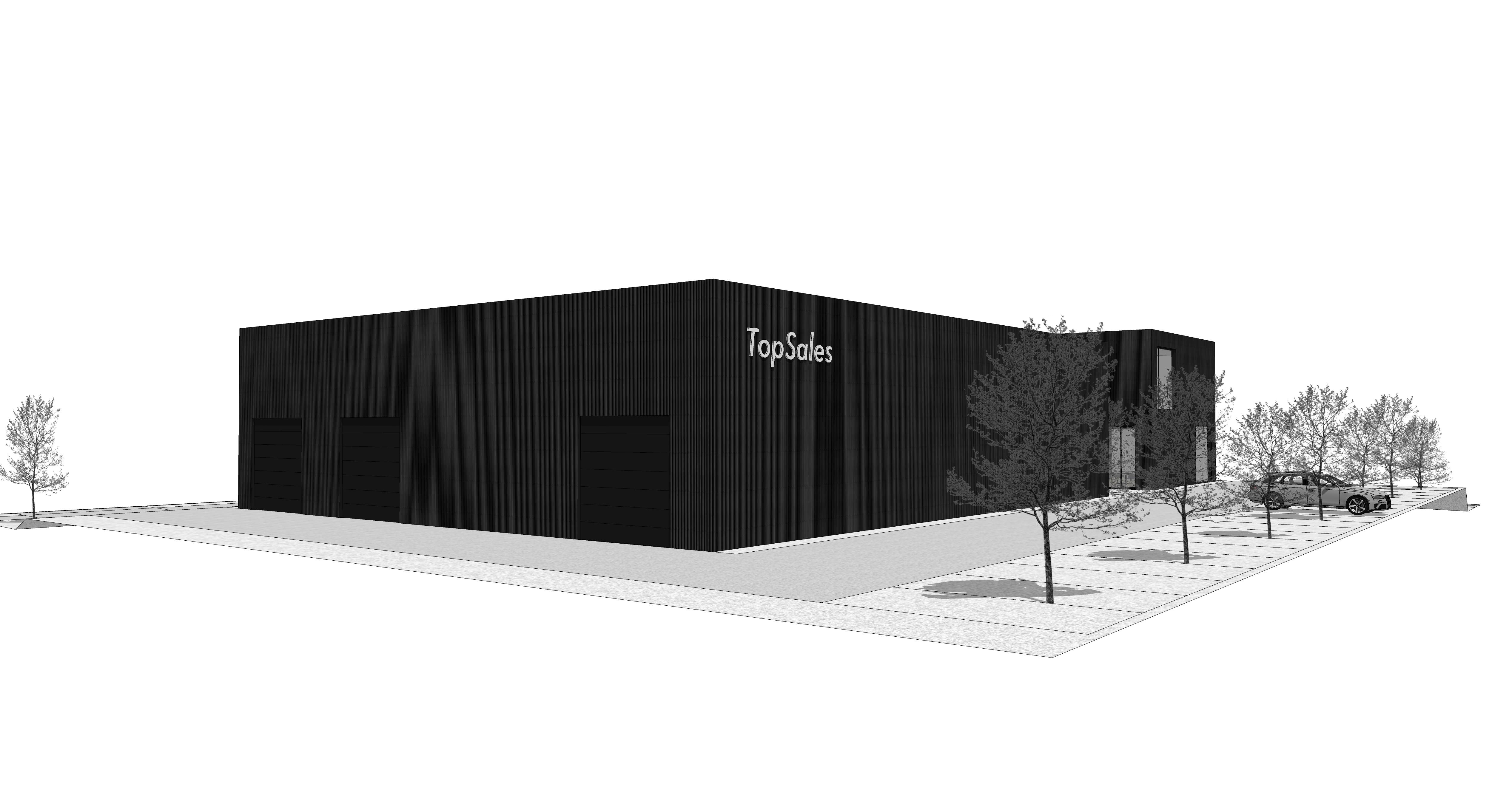RG architectes   3D TopSales bureaux et hall industriel